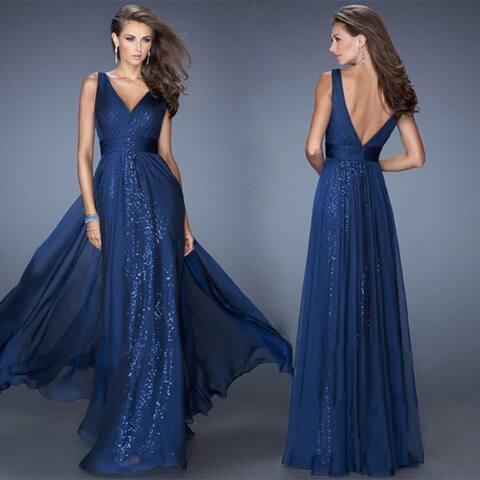 Women's V-Neck Backless Dress Waist Net Gown Evening Dress
