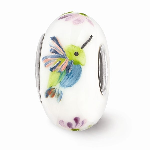 Sterling Silver Reflections White Hand Painted Bird Floral Glass Bead