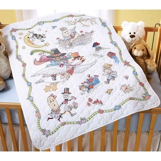 "Mary Engelbreit Mother Goose Crib Cover Stamped Cross Stitch-34""X43"""