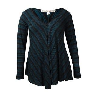 Studio M Women's Striped Knit V-Neck Tunic Sweater - xL