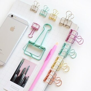 G Home Collection Colorful Classic Binder Clips Randomly Picked Set of 9