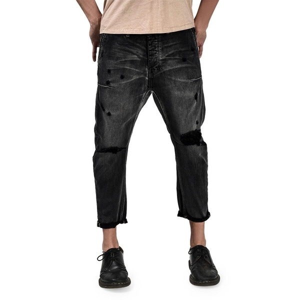 53e4099f970 Man X One Teaspoon Mr. Brown Distressed Cropped Jeans Size 30 Black Van
