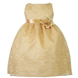 Baby Girls Gold Floral Lace T-Length Flower Girl Dress 6-24M