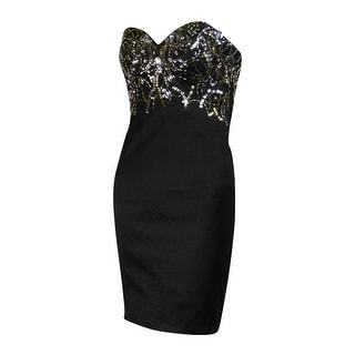 Jump Junior's Strapless Embellished Sheath Taffeta Dress - 1/2