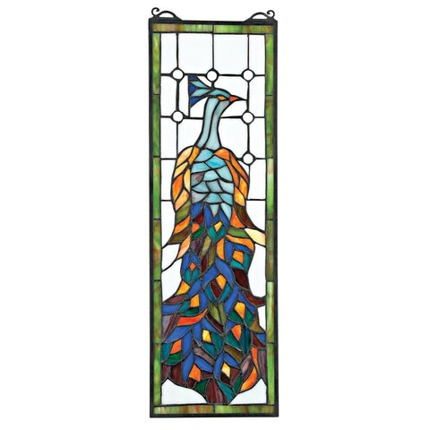 Design Toscano Pleasant Peacock Stained Glass Window