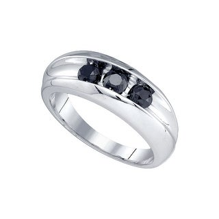 10kt White Gold Mens Round Black Colored Diamond Band Wedding Anniversary Ring 7/8 Cttw