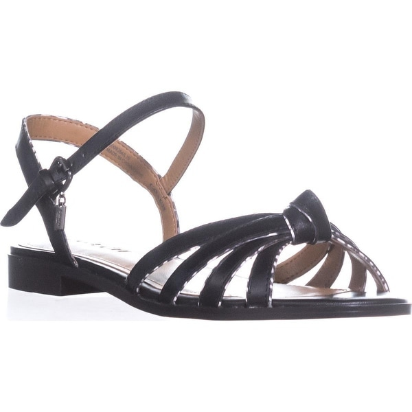Coach Sophia Ankle Strap Flat Sandals, Black/Black White - 8 us / 38 eu