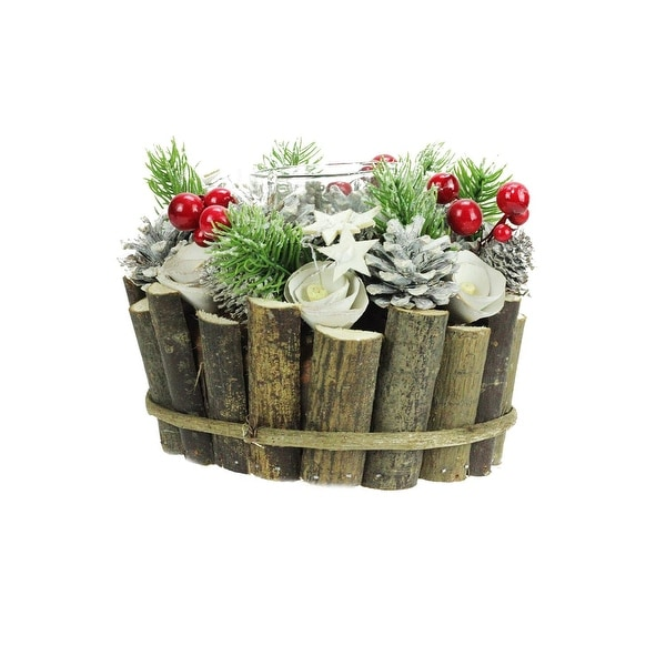 """7.25"""" Winter Glitter Pine, Berry, Star and Floral Frosted Votive Candle Holder - brown"""