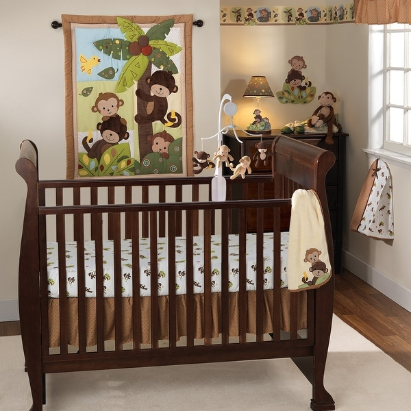 Bedtime Originals Curly Tails Brown/Green/Blue Monkey with Palm Tree 4-Piece Baby Nursery Crib Bedding Set