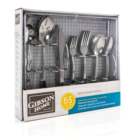 Gibson Home South Bay 65 Piece Stainless Steel Flatware Service Set with Wire Caddy