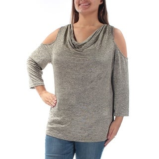 Womens Gold Long Sleeve Cowl Neck Casual Top Size XL