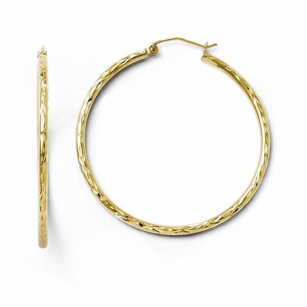 10k Gold Textured Hinged Hoop Earrings
