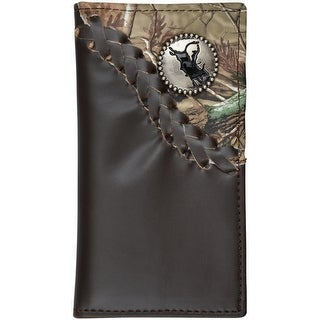 3D Western Wallet Boys Kids Rodeo Leather Lacing Dark Brown - Dark brown