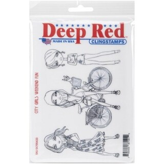 Deep Red Stamps City Girls Weekend Fun Rubber Cling Stamp - 4 x 6