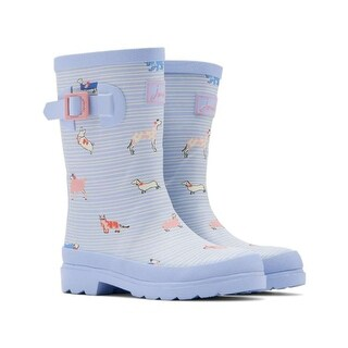 Kids Joules Girls sbsbdog Knee High Pull On Snow Boots - Blue With Stripes