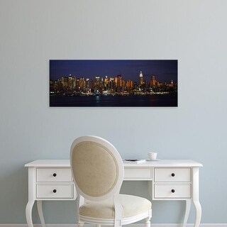 Easy Art Prints Panoramic Image 'Skyscrapers lit up in a city, Manhattan, New York City, New York, USA' Canvas Art