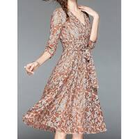 Tina Pink Day V-Neck Women's Size 3X Plus Floral A-Line Dress