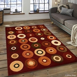 "Allstar Red Modern Formal Red Area Rug (3' 9"" x 5' 1"")"