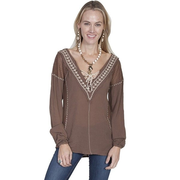 Scully Western Shirt Womens Long Sleeve Embroidered Pullover HC218