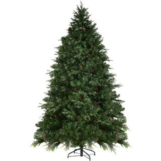 7.5 Ft Pre-Lit Artificial Christmas Tree w/ 540 LED Lights & Pine Cones