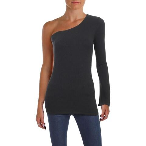 Aqua Womens Knit Top One-Shoulder Bell Sleeve