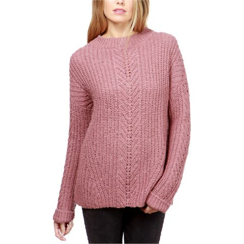 Lucky Brand Womens Knitted Pullover Sweater, Pink, Large