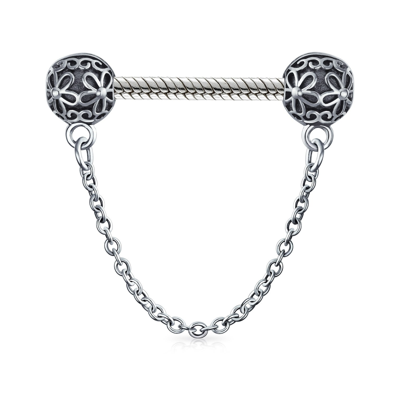 Handcuff Safety Chain Spacer Stopper Clasp Charm Bead For Women 925 Sterling Silver Fits European Bracelet