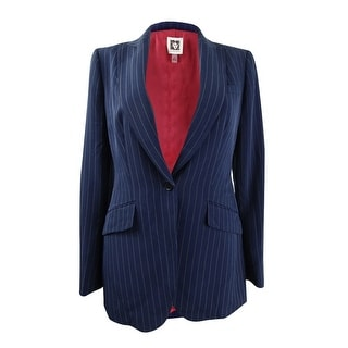 Link to Anne Klein Women's Pinstripe One-Button Blazer - Marine Blue/Anne Black Similar Items in Suits & Suit Separates