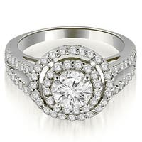 1.15 ct.tw 14K White Gold Double Halo Round Cut Diamond Split Shank Promise Engagement Ring HI SI1-2