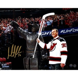 Martin Brodeur Signed Wide Angle Retirement Night With Statue 8X10 Photo
