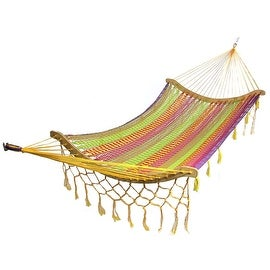 Sunnydaze Thick Cord Woven Single Person Mayan Hammock with Curved Spreader Bars