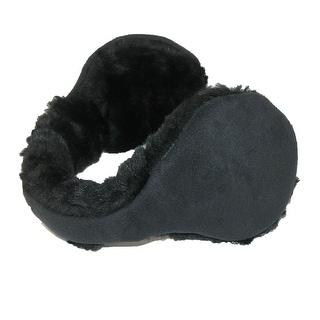 180s Womens Faux Suede with Fur Trim Wrap Around Earmuffs