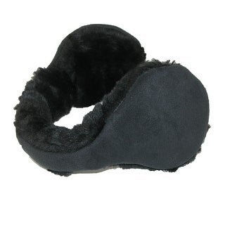 180s Womens Faux Suede with Fur Trim Wrap Around Earmuffs