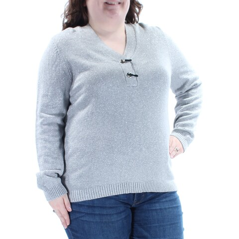 CHARTER CLUB Womens Gray Glitter Long Sleeve V Neck Sweater Size: XXL