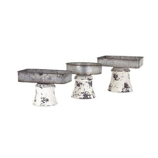 Set of 3 Distressed Substructure Metal Pedestal Trays 10 - Silver