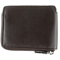 CTM® Men's Leather RFID Zip-Around Wallet with Interior Flip Page - one size