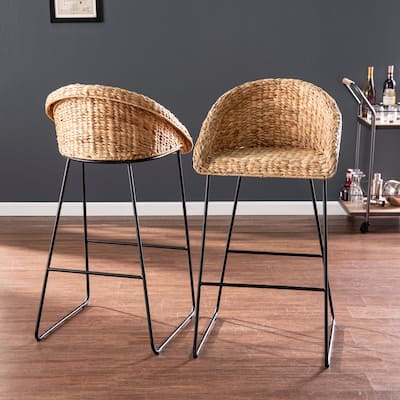 The Curated Nomad Landria Natural Woven Fiber Stools (Set of 2)