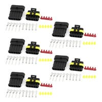 Unique Bargains Wire Connector Plug 5 Pins Waterproof Electrical Car Motorcycle HID 5 Set
