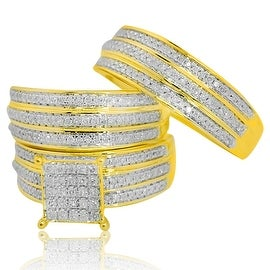10k Yellow Gold His and Her Trio Diamond Wedding Ring Set 0.79cttw Diamonds 21mm Wide Extra Wide Rings By MidwestJewellery