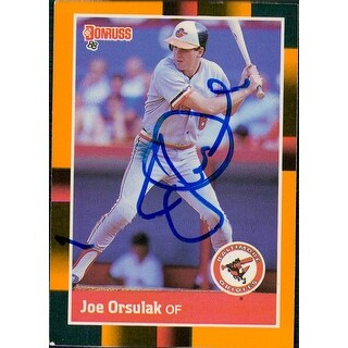 Signed Orsulak Joe Baltimore Orioles 1988 Donruss Baseball Card Light Smudging of the signature aut