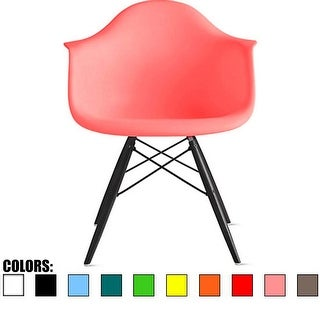 2xhome Pink Eames Dining Room Arm Chair With Black Wooden Eiffel Style Legs