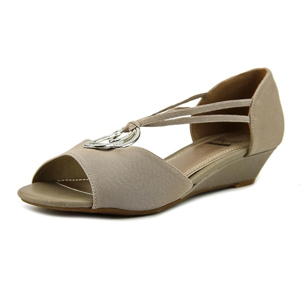 Impo Regis Women Open Toe Canvas Gray Wedge Sandal