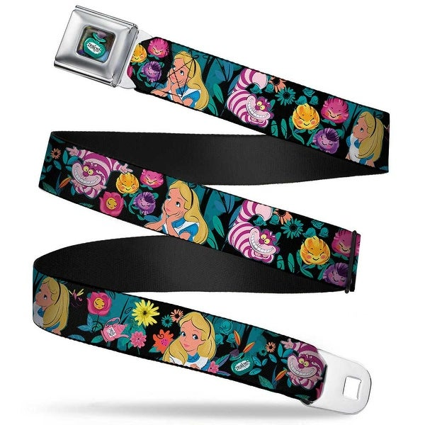 Alice In Wonderland Drink Me Bottle Full Color Alice Cheshire Cat Flowers Seatbelt Belt