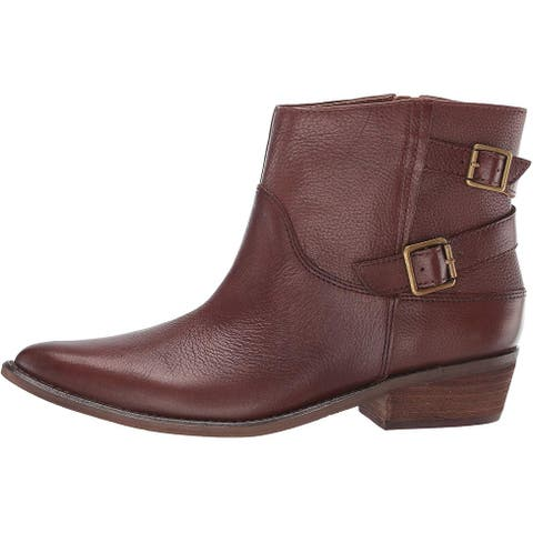 Lucky Brand Women's Shoes Caelyn Leather Pointed Toe Ankle Motorcycle Boots