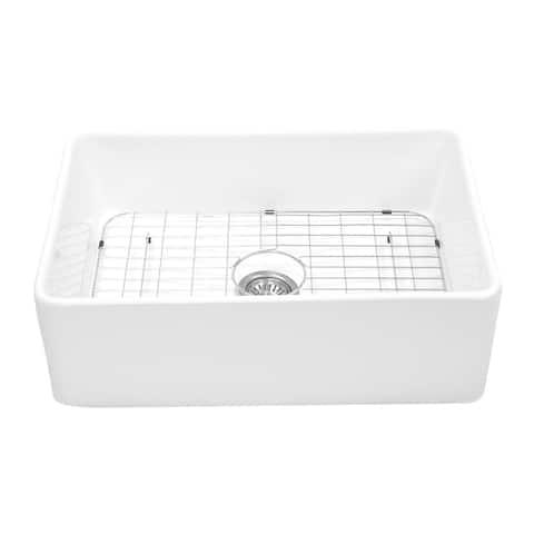 "Charleston 30'' Reversible Fireclay Farmhouse Kitchen Sink Set - 30"" W x 19.75"" L x 10"" H"