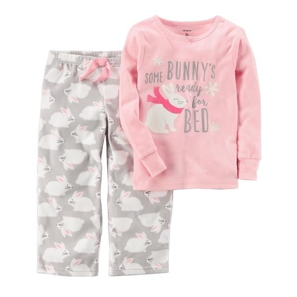 04a686cbd Shop Carter s Baby Girls  2-Piece Bunny Cotton   Fleece PJs