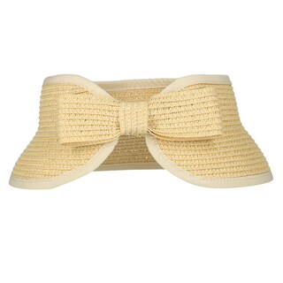 CTM® Girls' Packable Straw Visor with Back Straw Bow