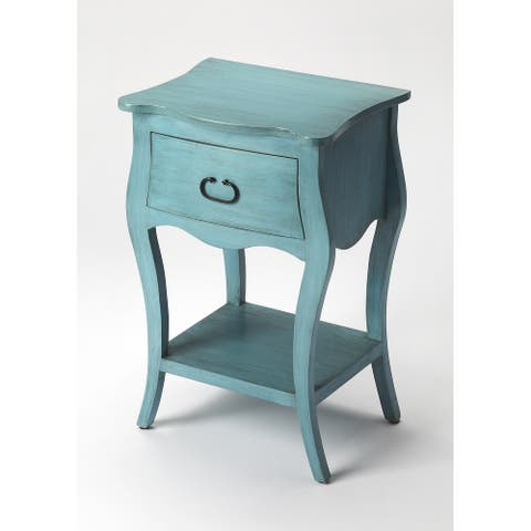 Handmade Butler Rochelle Distressed Blue Nightstand (India)