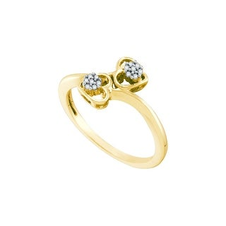10k Yellow Gold Round Natural Diamond Womens Slender Heart Valentines Bypass Ring 1/20 Cttw - White