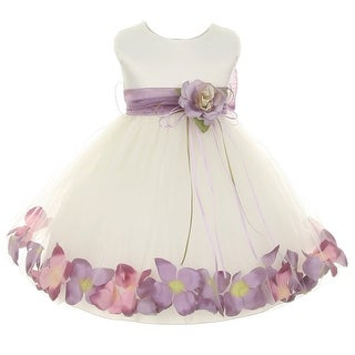 Kids Dream Baby Girl Ivory Lavender Satin Petal Floating Flower Girl Dress 6-24M